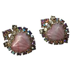 Vintage HOBE Mayorka Pink  Poured Petal Aurora Borealis  Rhinestone Earrings clips  signed  1 1/4 inch size