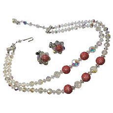 Vintage Crystal Red Sugar Bead Multi strand Necklace matching Earring clips