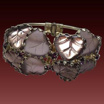 Vintage  Lavender Purple Art Glass Clamper Bracelet Rhinestone highlights  2 1/2 inch diameter top clamp