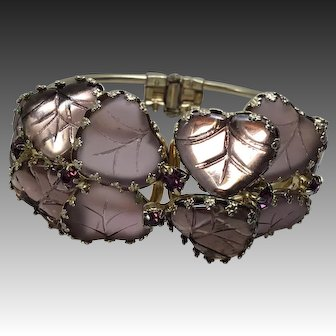 Vintage  Lavender Purple Art Glass Clamper Bracelet