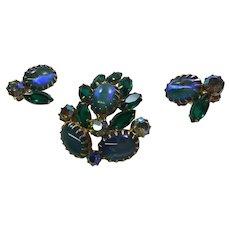Vintage Juliana Blue Green Rhinestone Pin  Brooch Earring  Clips Set  Open Back  Dog Tooth Prongs