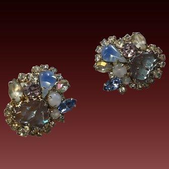 Hobe Saphiret  glass Mayorka Petal  Rhinestone Earring Clips Signed  1 1/4 inch size