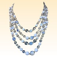 Vintage Western Germany Blue Givre Glass bead Crystal Multi strand Necklace