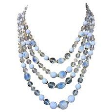 Vintage Western Germany Blue Givre Glass bead Crystal Multi strand Necklace