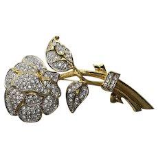 Vintage Nolan Miller Large Rhinestone Rose Pin/brooch  Signed
