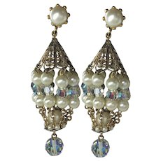Vintage Aurora Borealis Crystal Simulated Pearls Chandelier Earring Clips  3 inch Length