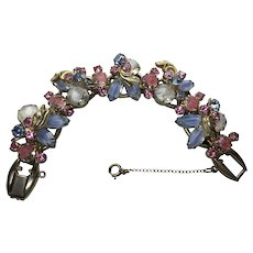 Vintage Juliana D & E Pink Blue White Givre Rhinestone 5 link Bracelet with safety chain layered stones