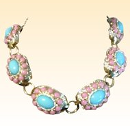 Massive Robin Egg Blue Pink Cabochons surrounded crystal rhinestones Necklace link 19 inch length