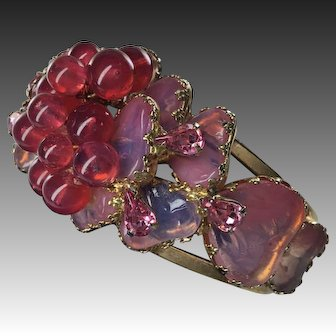 RARE Vintage Cranberry Poured Mayorka  Glass Petals  Clamp bracelet