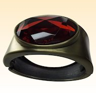 Huge Red Facet Glass bezeled Stone Cuff Bracelet   1 1/2 inch wide
