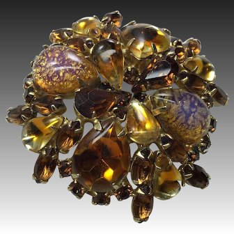 "WEISS Golden Cat Eye Dragon Breathe Foiled Purple Amber Cabochons Topaz Rhinestones Domed Brooch Pin Huge 2 1/2 "" diameter Signed"