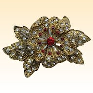 Vintage Art Nouveau Red Clear Rhinestone flower Trembler Pin/Brooch  2 1/8 inch length  Old & Beautiful