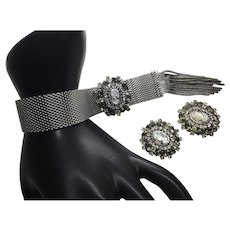 Amazing HOBE Cameo Rhinestone Slide Bracelet matching earring Clips  Mint condition and gorgeous!