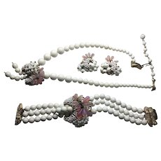 Vintage Julio Marsella Pink Glass wired beads White Seed Beads strand Necklace Bracelet Earring Set Mid Century
