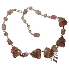 "Vintage Jewels by Julio Marner Pink Mayorka Poured Glass Petal Rhinestone spray Necklace  17  1/2 "" Length"