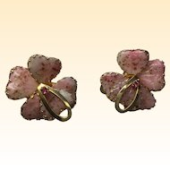 Vintage Jewels by Julio Marner Pink Mayorka poured petal Earring Clips  Large  1 5/8 inch size  gold flecks