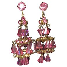 Vintage Hot Pink Aurora Borealis  Crystal Rhinestone Chandelier Dangle Earring Clips  2 5/8 inch Length