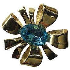 Joan Rivers Blue Stone Ribbon Pin Brooch Huge