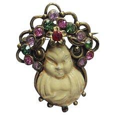 Vintage Buddha Asian Rhinestone Pin  Brooch Antique