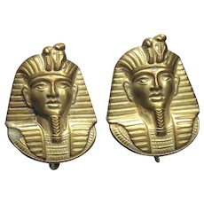Miriam Haskell Egyptian King Tut Earrings  Signed