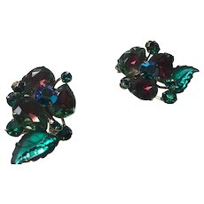 Vintage Watermelon Rhinestone earring Clips Large