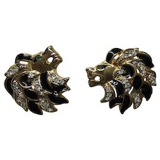 Vintage Craft Lion Head Rhinestone Black Enamel  Earring Clips Signed