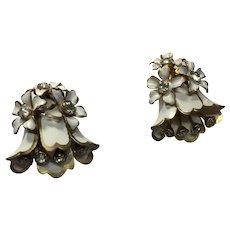 Vintage SANDOR  Enamel Rhinestone Earring Clips