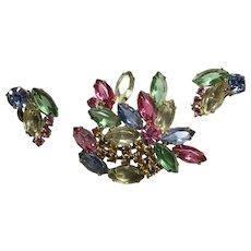 Vintage Juliana Fruit Salad Rhinestone Pin Brooch Earring Clips