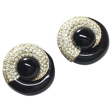 Ciner  Black Rhinestone Large Earring Clips Signed