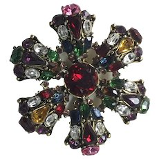 Large Weiss Rhinestone Colorful Brooch Pin