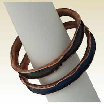 Enameled copper bangle bracelets