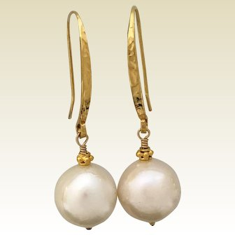 Off White cultured pearls on gold vermeil ear wires