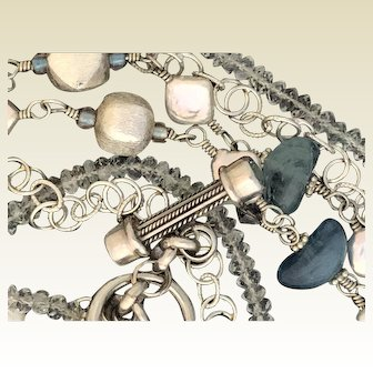 Silver, Aquamarine and cultured freshwater pearl necklace