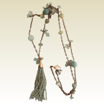 Amazonite, rose gold filled necklace with tassel