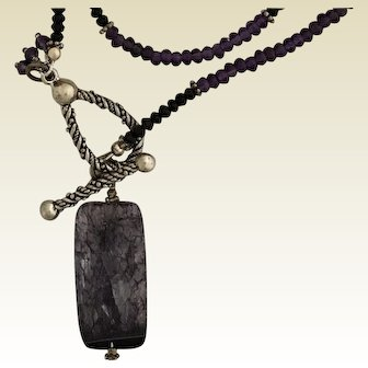 Amethyst and black onyx lariat necklace with purple tourmalinated quartz drop