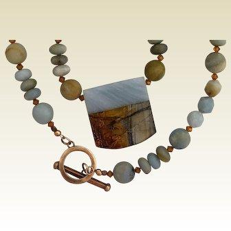 Amazonite necklace with Jasper and Amazonite pendant