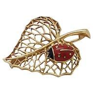 Cartier 1970's 18k Gold Leaf & Ladybird Brooch