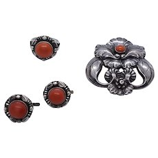 1930's Georg Jensen coral and silver parure comprising brooch, ring and earrings