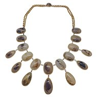 Early 19th Century moss agate and gold necklace