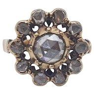 19th Century rose cut diamond cluster ring