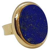 Vintage 18K Gold & Lapis Signet Ring