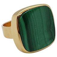 Vintage 18K Gold & Malachite Signet Ring