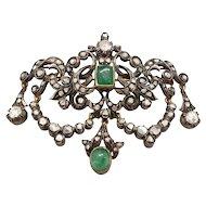 Early 19th Century Iberian, Spanish diamond and emerald pendant brooch