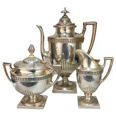 Antique Russian Imperial Solid Sterling Silver 84 Coffee or Tea Set 3 pc. Coffee Pot, Covered Sugar and Creamer