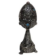 Russian Imperial Sterling Silver 84 Filigree Egg on Footed Pedestal with Lion of Zion inside Decorated with Gem Stones