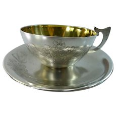 Russian USSR Solid Sterling Silver 875 Flower Engraved Cup and Saucer Tea / Coffee Set (Total of 6 sets available. Sold separately.)