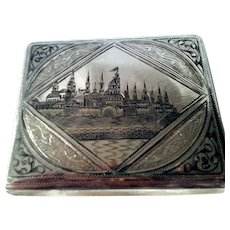 Rare Antique Russian Imperial Solid Sterling Silver 84 Niello Engraved Cigarette Case Kremlin Moscow Buildings Churches