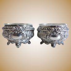 19 Century Pair of Antique French Solid Sterling Silver 950 Salt Cellars. Purity Higher Than 925 Fully Hallmarked Minerva 1 Head Titer Mark