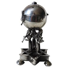 Russian Imperial Sterling Silver 84 Jewish Burning Essence Pot with  Star of David Base, Onyx and 3 Musicians Judaica