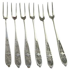 Russian or Persian Vintage Solid Sterling Silver 84 Filigree Open Work Set of 6 Cocktail or Fish Forks (2 sets available, sold separately)